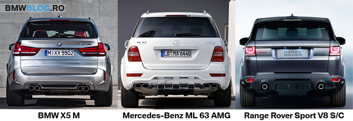 BMW X5 M vs ML 63 AMG vs Range Rover Sport - spate