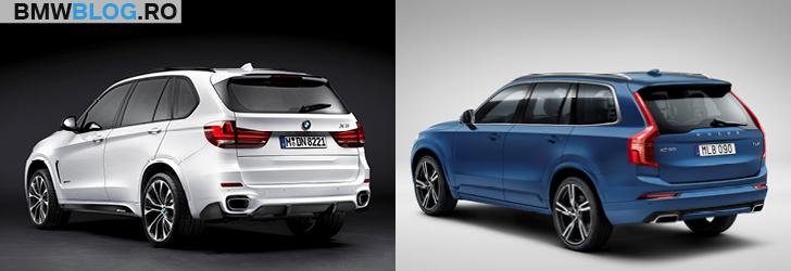 BMW X5 vs noul Volvo XC90 semiprofil spate