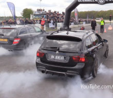 Concurs de burnout între un BMW E91 Touring de 900 CP și un C63 AMG