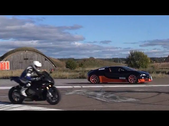 BMW S 1000 RR vs. Bugatti Veyron de 1.200 CP [VIDEO]