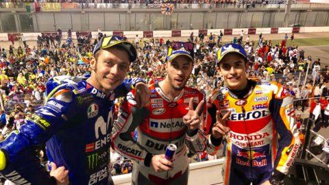 Dovizioso câștigă prima cursă a anului! Marquez și Rossi pe podium.