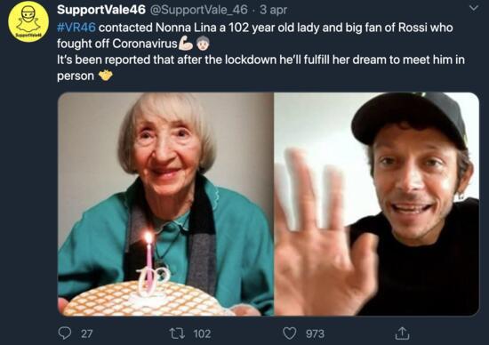 Rossi, idolul femeii de 102 ani vindecate de Covid. Vale a sunat-o și a făcut-o fericită